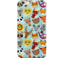 Seamless pattern with funny cute animal face on a blue background.  iPhone Case/Skin