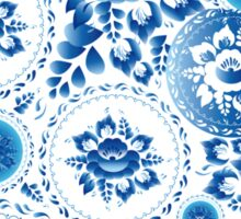 Vintage Seamless pattern with blue flowers and leaves  Sticker