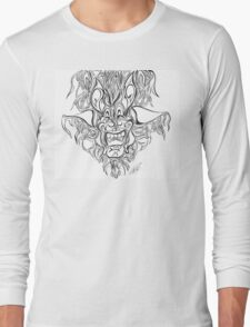 Abstract Face Flame Design Long Sleeve T-Shirt
