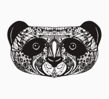 Panda on white background. doodle One Piece - Short Sleeve