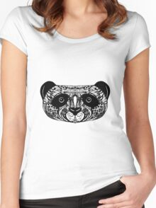 Panda on white background. doodle Women's Fitted Scoop T-Shirt