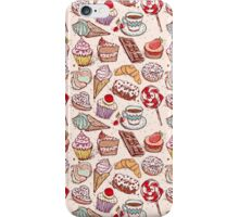 Hand drawn confectionery seamless pattern croissant Cupcake candy marshmallow ice cream cake donut and coffee iPhone Case/Skin