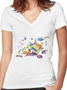 Fashion Flies  Women's Fitted V-Neck T-Shirt