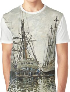 Claude Monet - Boats In A Harbour 1873 Graphic T-Shirt
