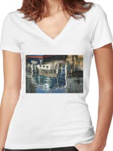Capricious Liquid Abstracts - Cool Blues and Whites with a Touch of Red Women's Fitted V-Neck T-Shirt