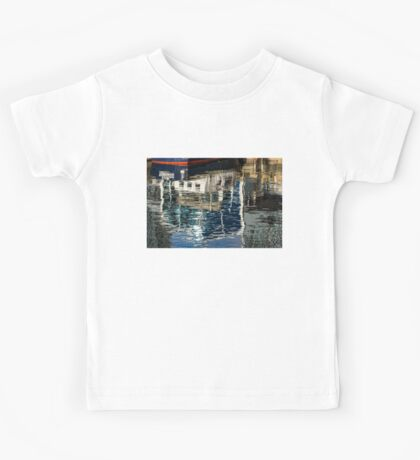 Capricious Liquid Abstracts - Cool Blues and Whites with a Touch of Red Kids Tee