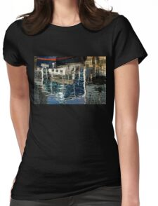 Capricious Liquid Abstracts - Cool Blues and Whites with a Touch of Red Womens Fitted T-Shirt