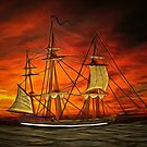 My vector drawing of my pencil drawing of a 3-masted 19th century Sailing Ship by Dennis Melling