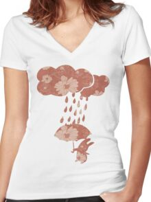 Song of the Rain (Floral pattern) Women's Fitted V-Neck T-Shirt