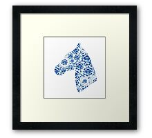Silhouette of beautiful horse's head with blue flowers Framed Print