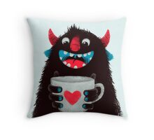 Demon with cup Throw Pillow