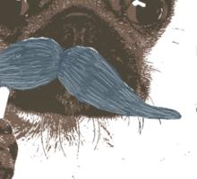 Funny Mustache Pug Sticker