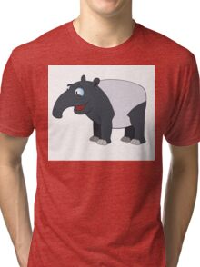 Happy cartoon coati smiling Tri-blend T-Shirt