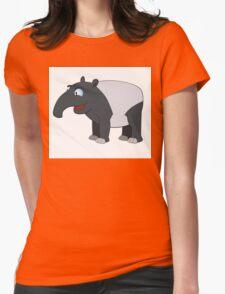 Happy cartoon coati smiling Womens Fitted T-Shirt