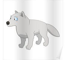 Attentive cartoon polar wolf Poster