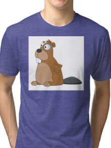 Funny cartoon beaver Tri-blend T-Shirt