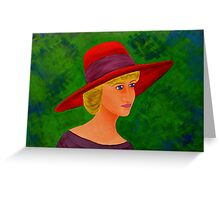 Lady with a red hat Greeting Card