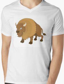 Cute cartoon buffalo Mens V-Neck T-Shirt
