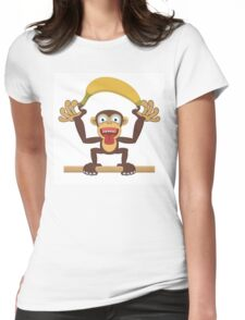 Funny cartoon monkey Womens Fitted T-Shirt