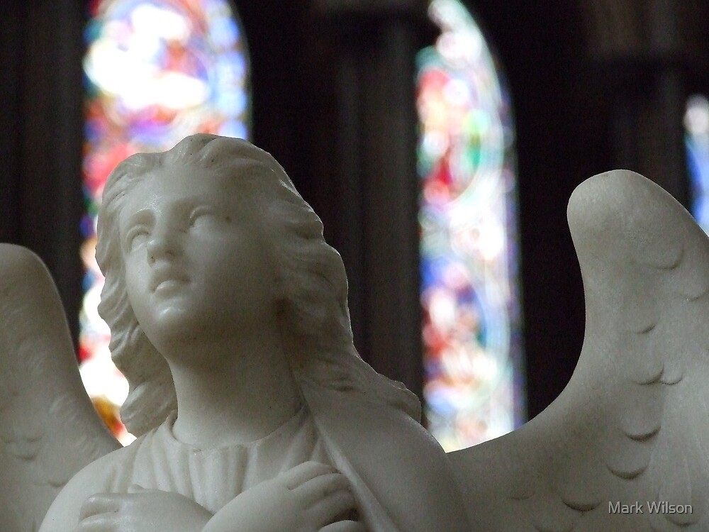Angel and Stained Glass Window by Mark Wilson