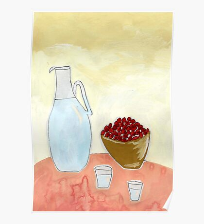 Jug and fruit. Poster