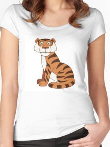 Cute funny cartoon tiger Women's Fitted Scoop T-Shirt