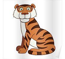 Cute funny cartoon tiger Poster