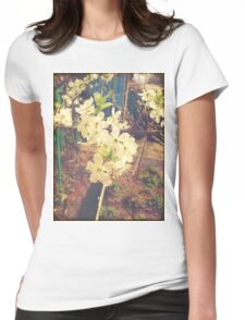White Plum Blossoms Womens Fitted T-Shirt
