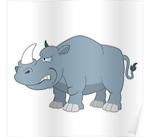 Angry cartoon rhino Poster