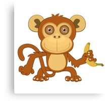 Funny cartoon monkey Canvas Print