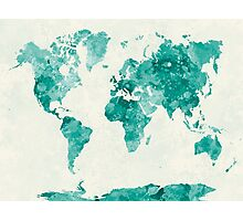 World map in watercolor green Photographic Print