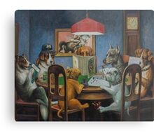 Dogs Playing D&D Metal Print