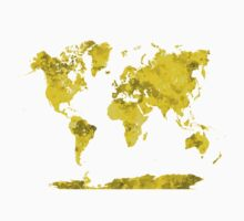 World map in watercolor yellow Kids Clothes