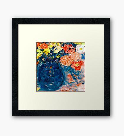 Romance Flowers in Blue Vase Designer Art Decor & Gifts Framed Print