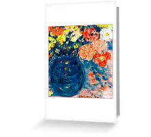 Romance Flowers in Blue Vase Designer Art Decor & Gifts Greeting Card