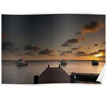 Sunset from the jetty - Bonaire Poster