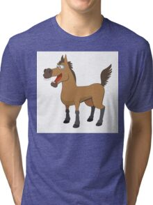 Funny cartoon horse Tri-blend T-Shirt