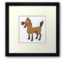 Funny cartoon horse Framed Print