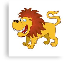 Funny cartoon lion Canvas Print