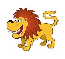 Funny cartoon lion Photographic Print