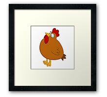 Funny cartoon chicken Framed Print