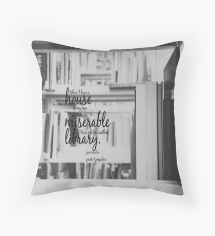 Jane Austen Library Throw Pillow