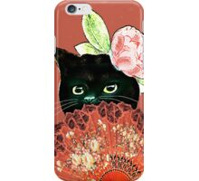 The Fan Cat Art White Background iPhone Case/Skin