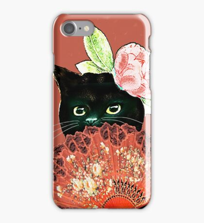 The Fan Cat Art White Background iPhone Case/Skin