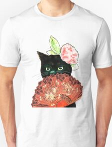The Fan Cat Art White Background Unisex T-Shirt