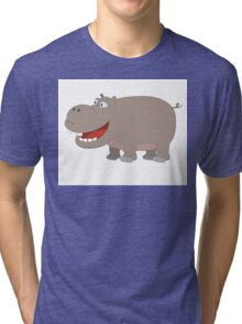 Cute funny cartoon hippo Tri-blend T-Shirt