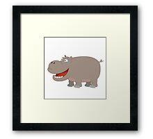 Cute funny cartoon hippo Framed Print