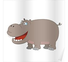 Cute funny cartoon hippo Poster