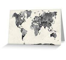 World map in watercolor gray Greeting Card