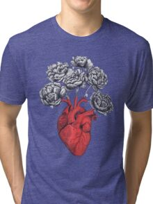 Heart with peonies Tri-blend T-Shirt